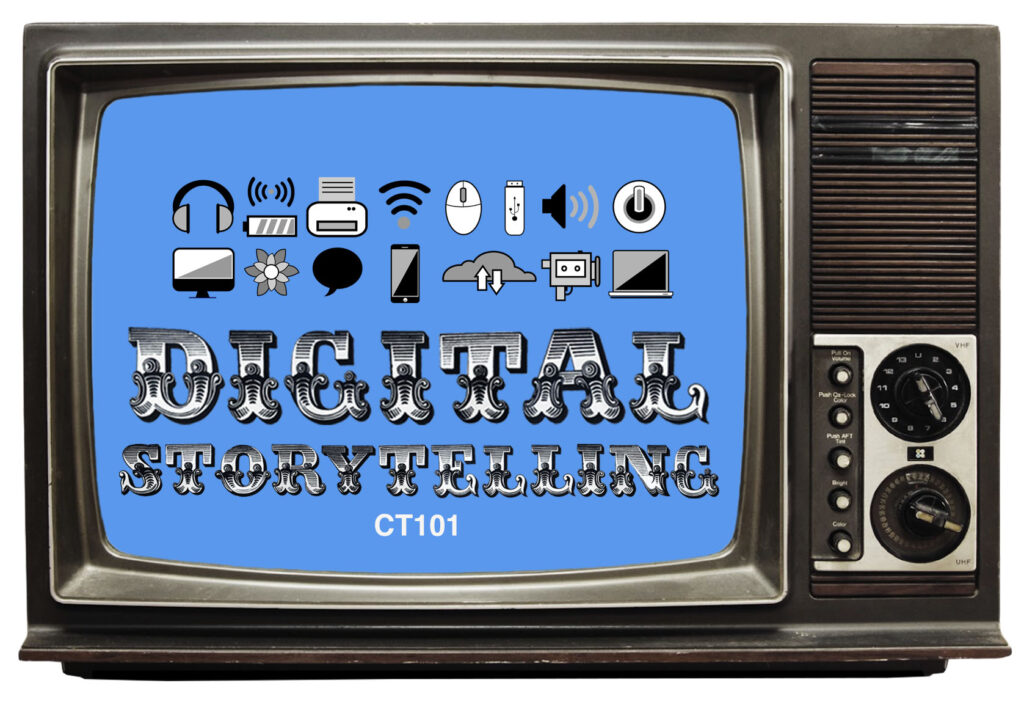 an old TV from the 1980s hosts the Digital Storytelling course title program