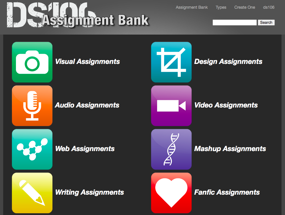 The ds106 home page image with assignment prompt icons